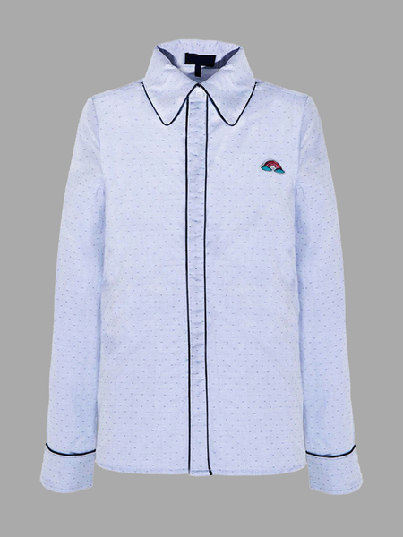Yoins Blue Polka Dot Shirt With Contrast Detail
