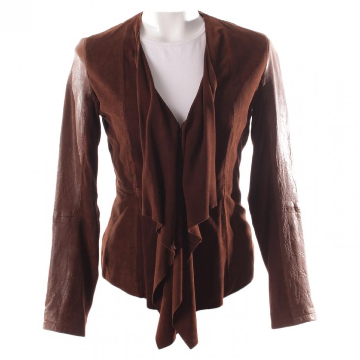 Boss - Veste   pour femme en cuir - marron