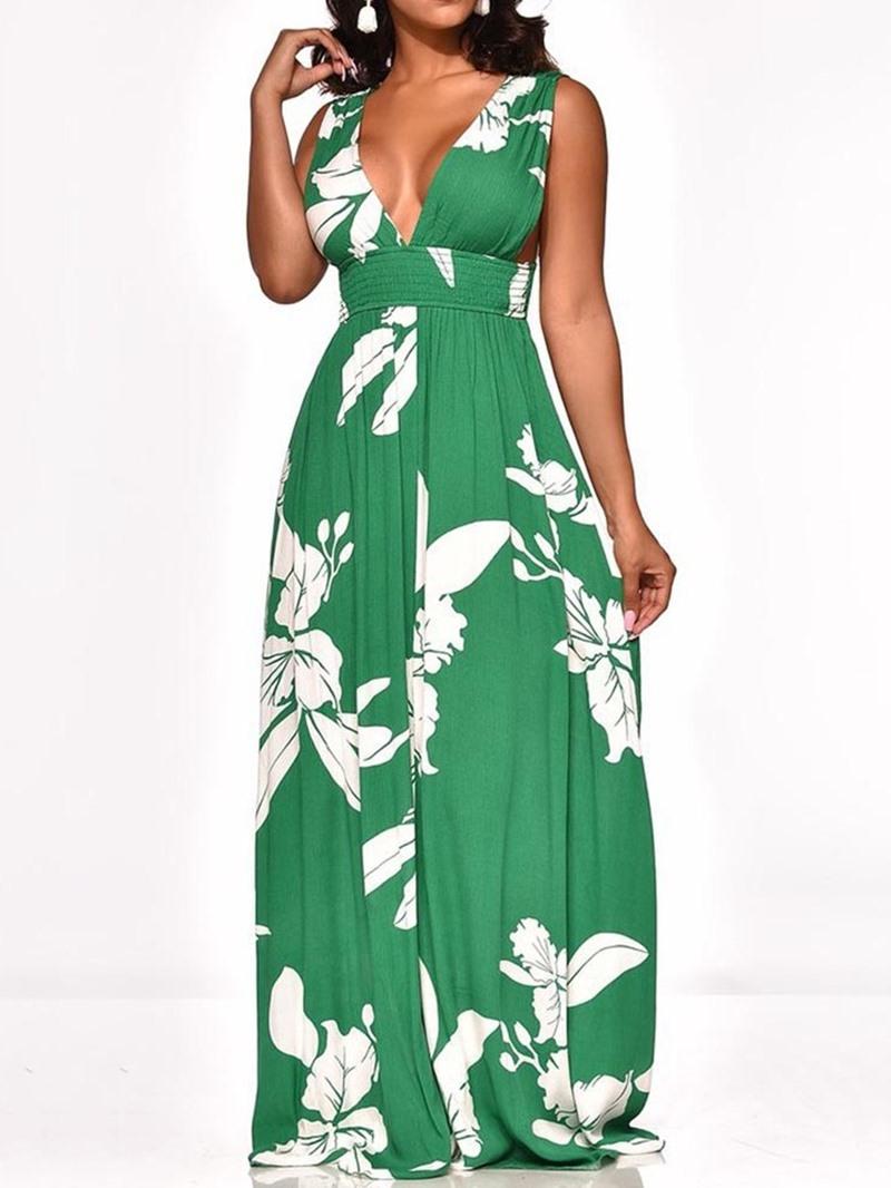 Ericdress Print Pleated Backless V-Neck Floor-Length A-Line Floral Dress