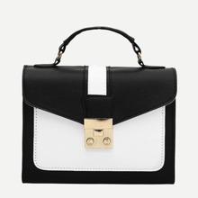 Color Block PU Satchel Bag
