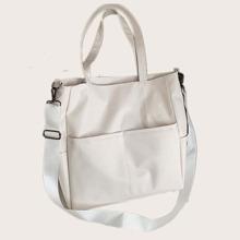 Solid Pocket Tote Bag