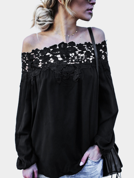 Yoins Black Lace Details Off The Shoulder Long Sleeves Blouses