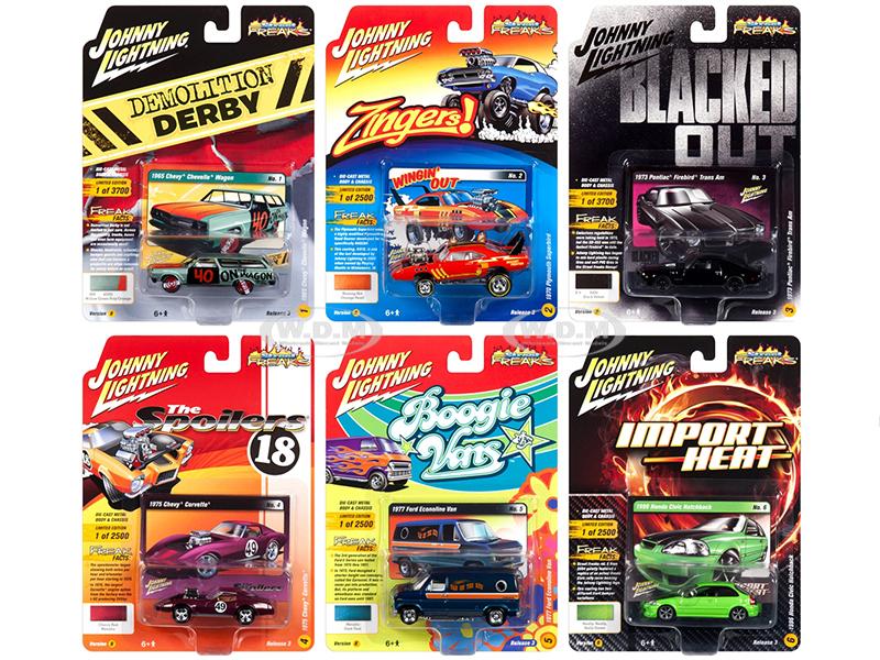 Street Freaks 2018 Release 3 Set B of 6 Cars 1/64 Diecast Models by Johnny Lightning