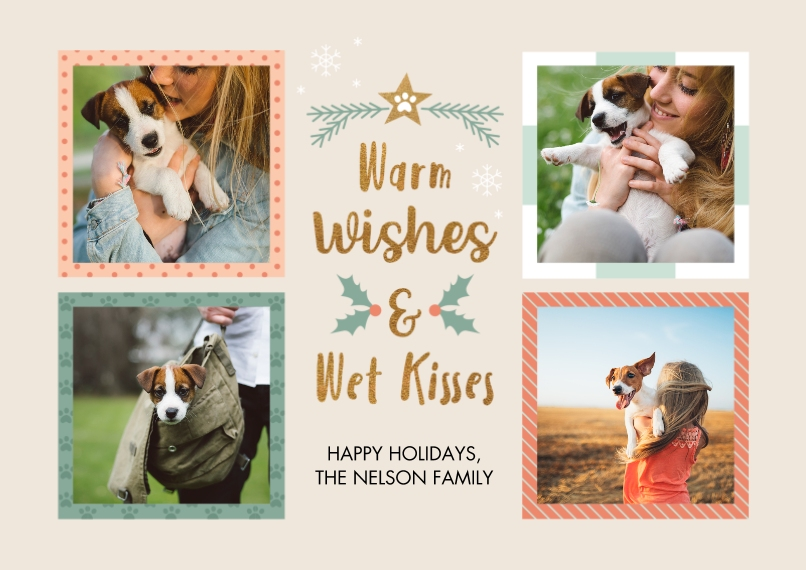 Save the Date 5x7 Cards, Standard Cardstock 85lb, Card & Stationery -Paws On Earth & Wet Kisses