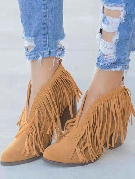 Yoins Tassels Pointed Sheer Ankle Boots