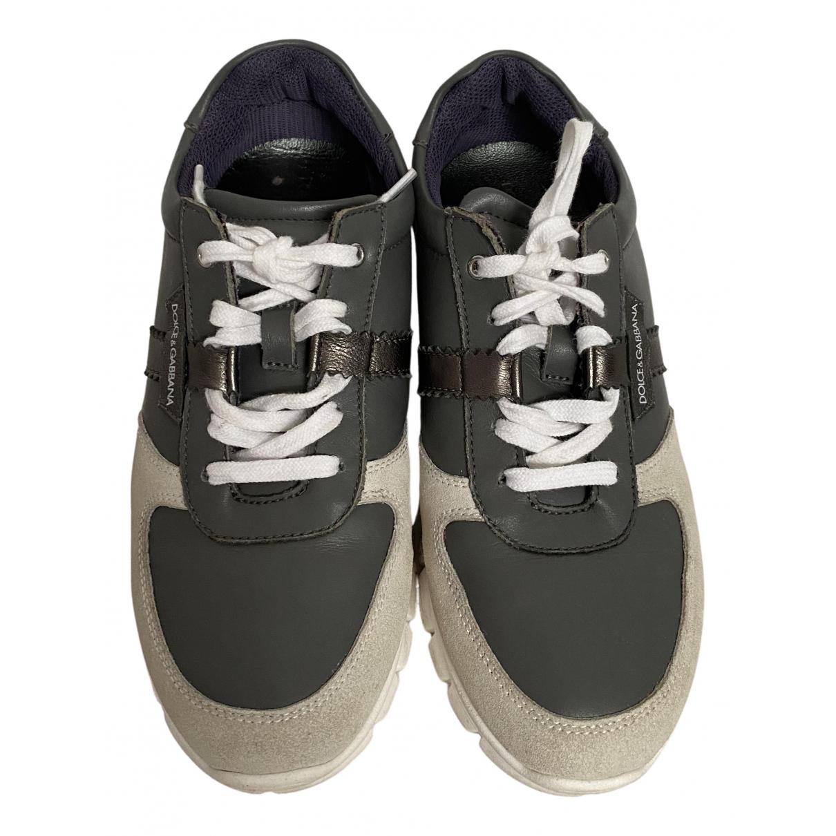 Dolce & Gabbana N Grey Leather Trainers for Women 35 EU