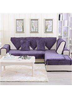 Purple Plaid Polyester 1-Piece Slip Resistant Sofa Cover