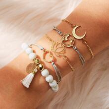 Armband mit Lotus & Herz Detail 5pcs