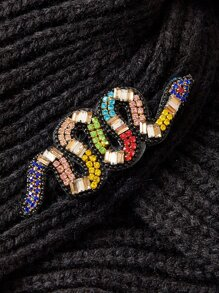 Rhinestone Snake Decor Knitted Turban Hat