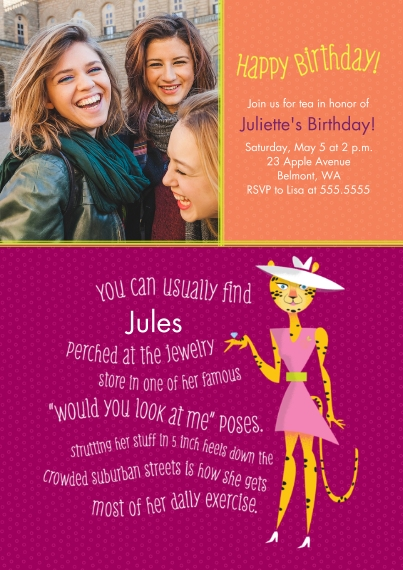 Birthday Party Invites 5x7 Cards, Standard Cardstock 85lb, Card & Stationery -Animal Personality Birthday Leopard