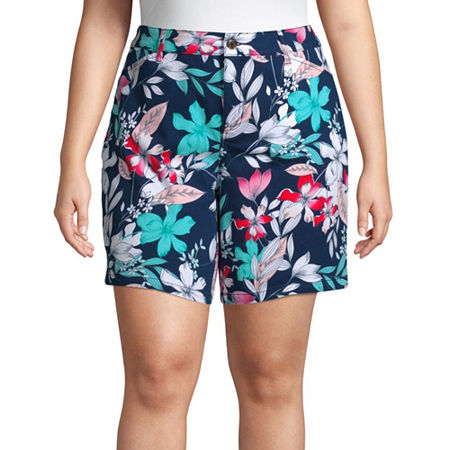 St. John's Bay Womens Mid Rise Chino Short-Plus, 16w , Blue