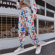Allover Butterfly Print Sweatpants