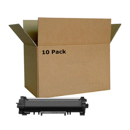 Compatible Brother TN760 Black Toner Cartridge High Yield - No Chip - Economical Box - 10/Pack