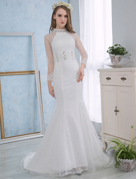 Milanoo Wedding Dresses Mermaid Ivory Lace Bridal Dress Long Sleeve Rhinestone Beaded Open Back Stand Collar Wedding Gown With Train