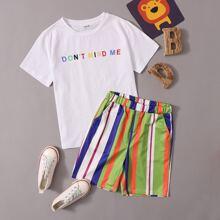 Boys Slogan Graphic Tee and Slant Pocket Striped Shorts Set