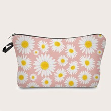 Daisy Print Makeup Bag
