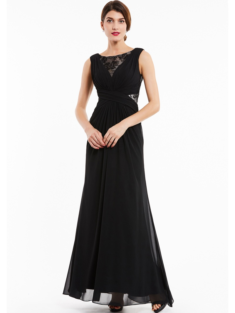 Ericdress Bateau Neck Lace Chiffon A Line Evening Dress