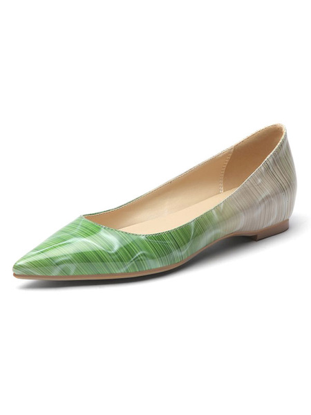 Milanoo Blue Ballet Flats PU Leather Pointed Toe Flat Ombre Slip On Shoes