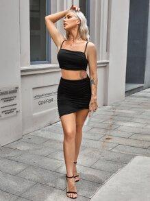 Ruched Crop Cami Top & Skirt Set