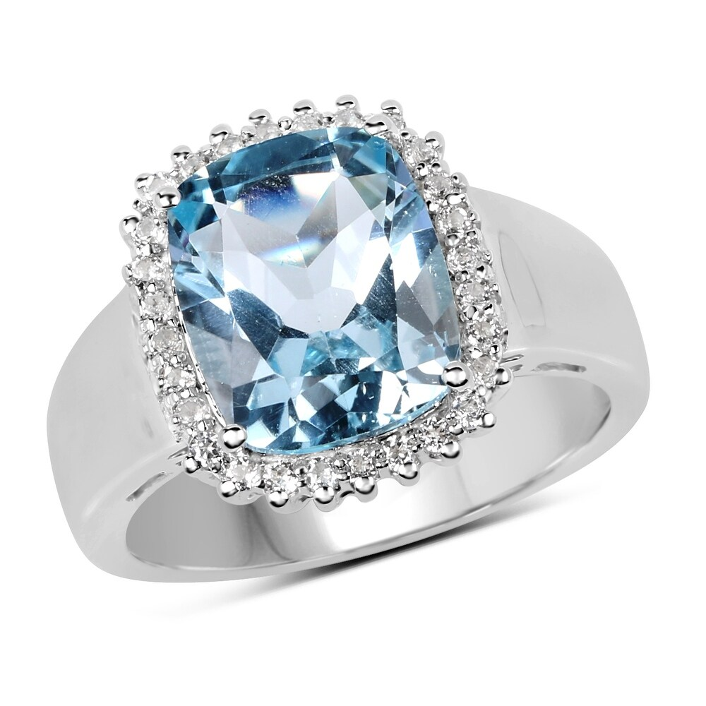 Malaika Sterling Silver 4 2/5ct TW Blue Topaz and White Topaz Ring (7)