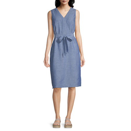 Liz Claiborne Sleeveless A-Line Dress, Small , Blue