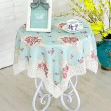 Crochet Trim Floral Tablecloth