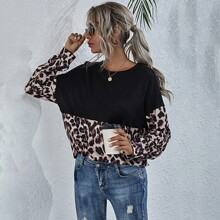 Camiseta tejida panel de leopardo