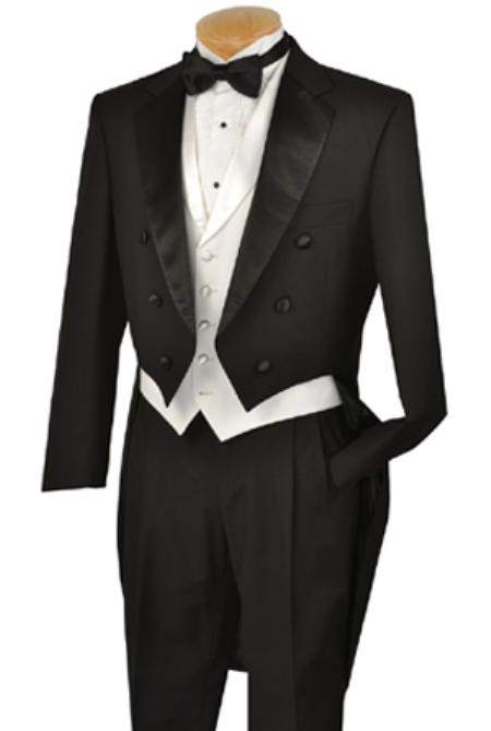 Black Full Dress TailCoat Notch Collarand White lapeled Vest