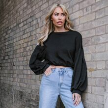 Cable Knit Lantern Sleeve Crop Pullover