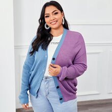 Plus Buttoned Front Two Tone Cardigan