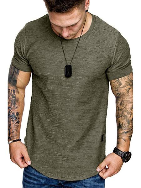 Milanoo T Shirts Short Sleeves Jewel Neck Summer Top