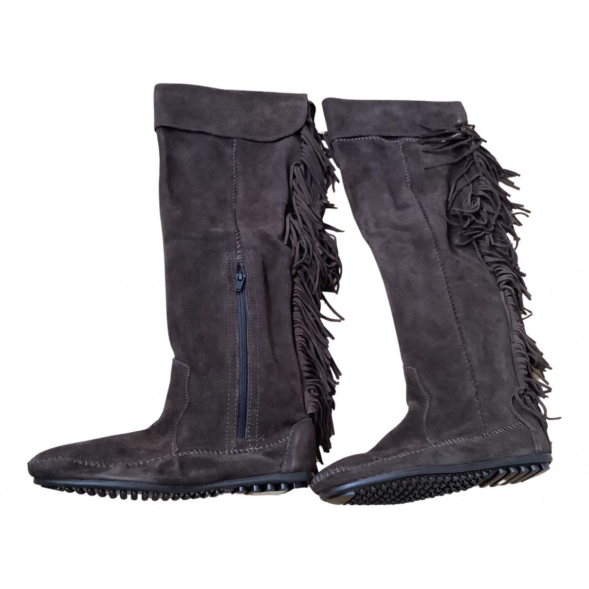 Maje Fall Winter 2019 Brown Suede Boots for Women 38 EU