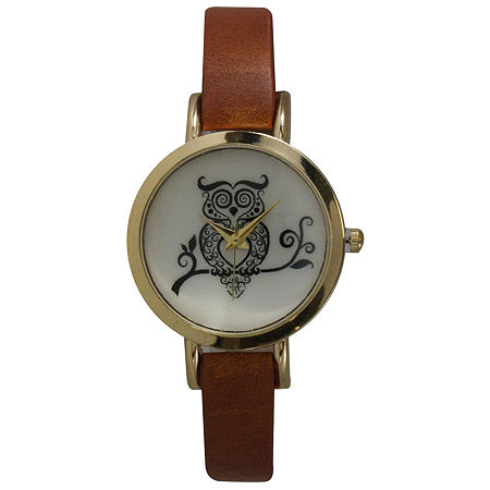 Olivia Pratt Womens Brown Leather Strap Watch-20378lightbrownowl, One Size , No Color Family