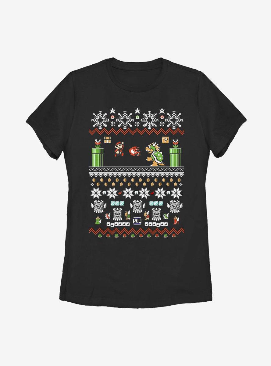 Super Mario Bit Christmas Stack Womens T-Shirt