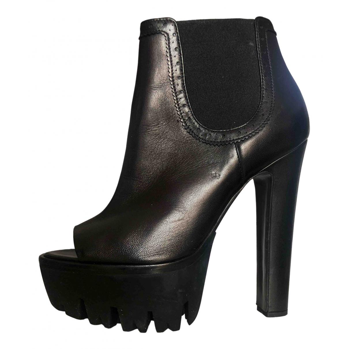 Versus - Boots   pour femme en cuir - noir