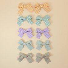 10pcs Toddler Girls Bow Knot Decor Hair Clip