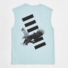 Men Eagle & Striped Print Tank Top