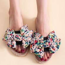 Bow Decor Floral Graphic Slippers