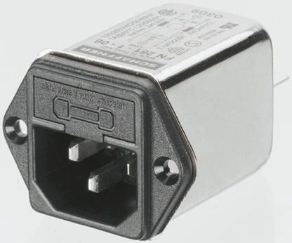 Schaffner ,4A,250 V ac Male Snap-In IEC Filter FN 9260S-4/06-10,Faston 1 Fuse