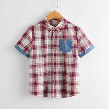 Boys Patch Pocket Button Front Tartan Shirt