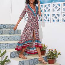 Surplice Neck Asymmetrical Hem Wrap Knot Paisley Dress