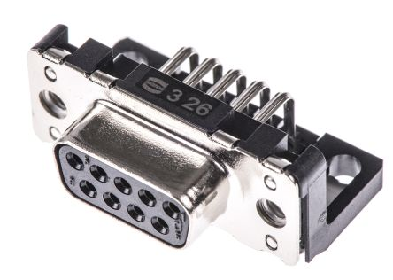 HARTING 9 Way Right Angle Through Hole PCB D-sub Connector Socket, 2.74mm Pitch, with Boardlocks, M3 Threaded Inserts (100)