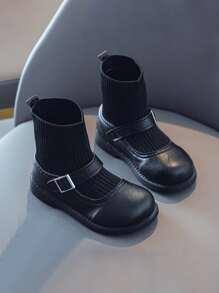 Girls Minimalist Buckle Decor Sock Boots
