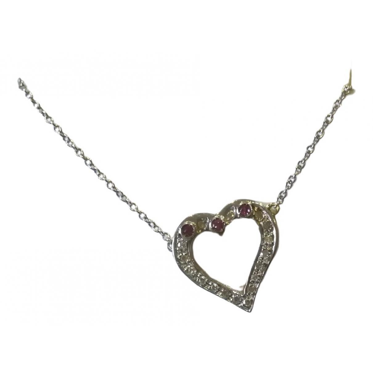 - Collier Motifs Coeurs pour femme en or blanc