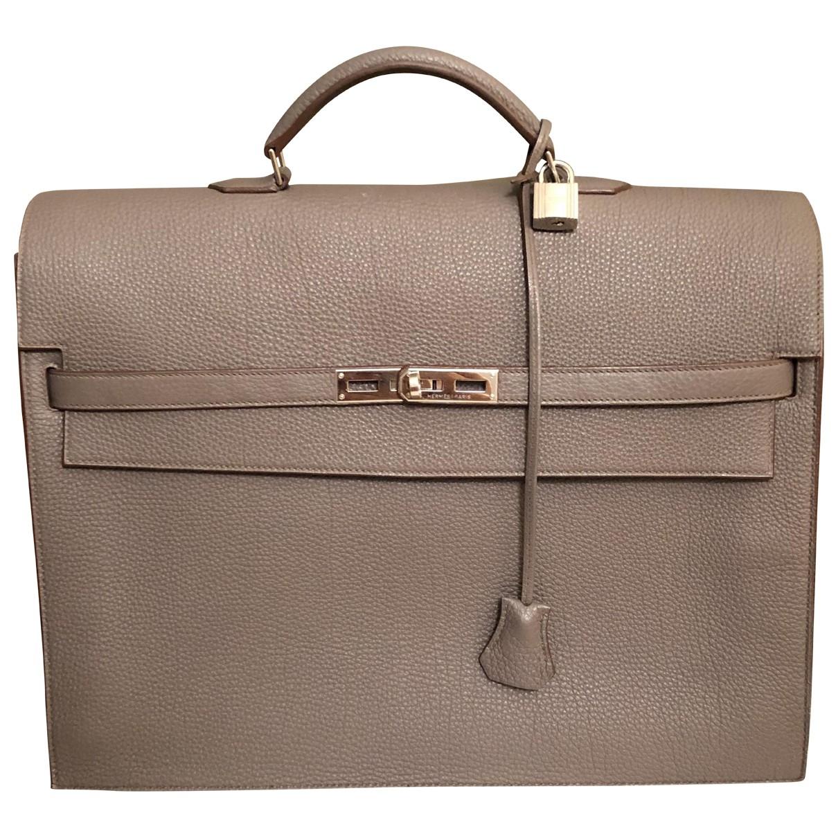 Hermès Kelly Grey Leather bag for Men \N