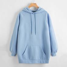 Solid Raglan Sleeve Sweatshirt Dress