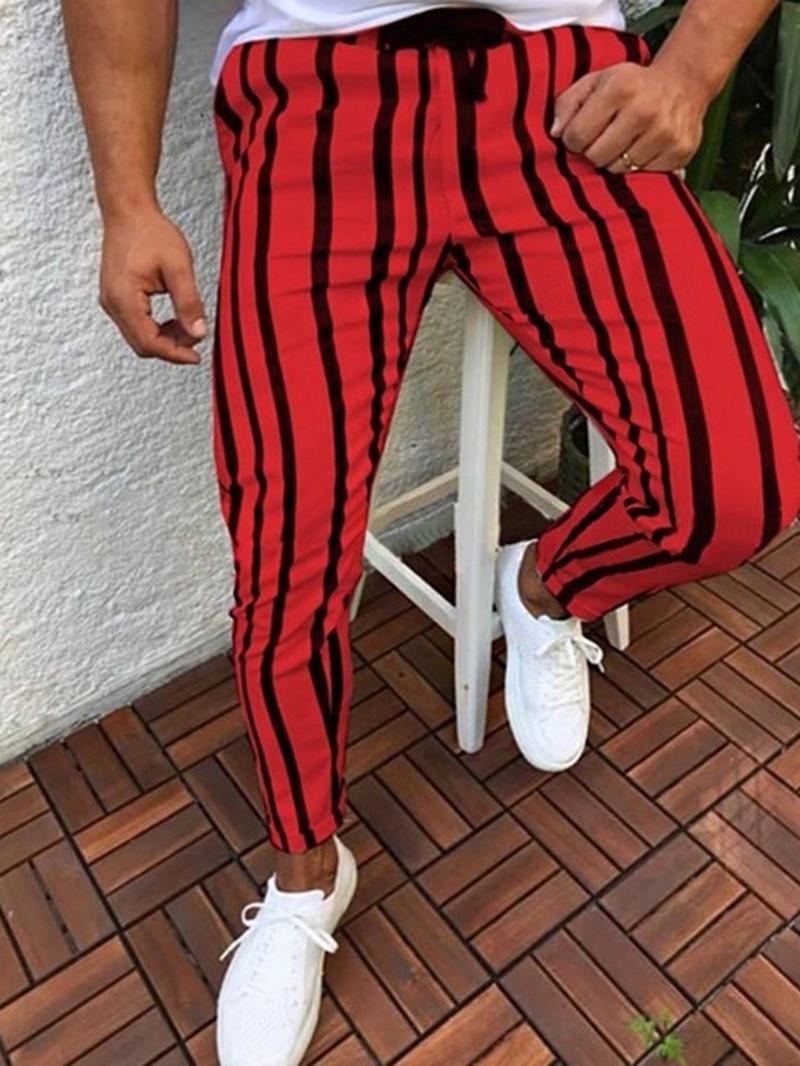 Ericdress Stripe Print Pencil Pants Casual Mid Waist Men's Casual Pants