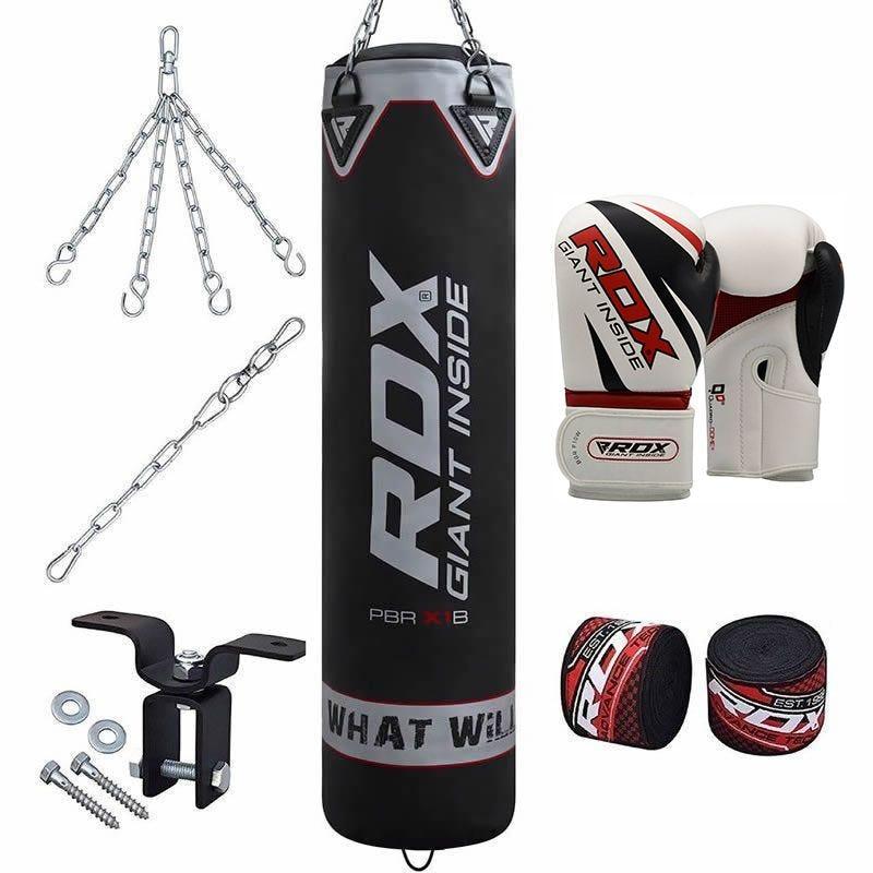 RDX X1 8pc Boxsack Gefuellt 4ft and Handschuhe 16oz Set Schwarz/Silber/Rot/Weiss