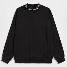 Men Letter Mock-neck Pullover