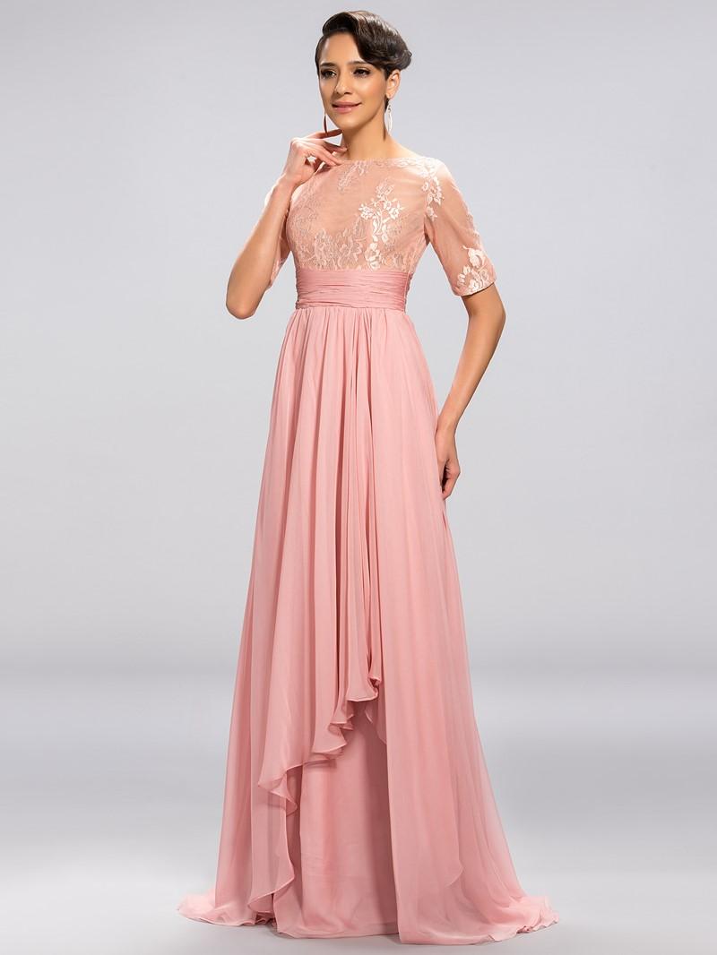 Classy Half Sleeves A Line Floor-Length Evening Dress